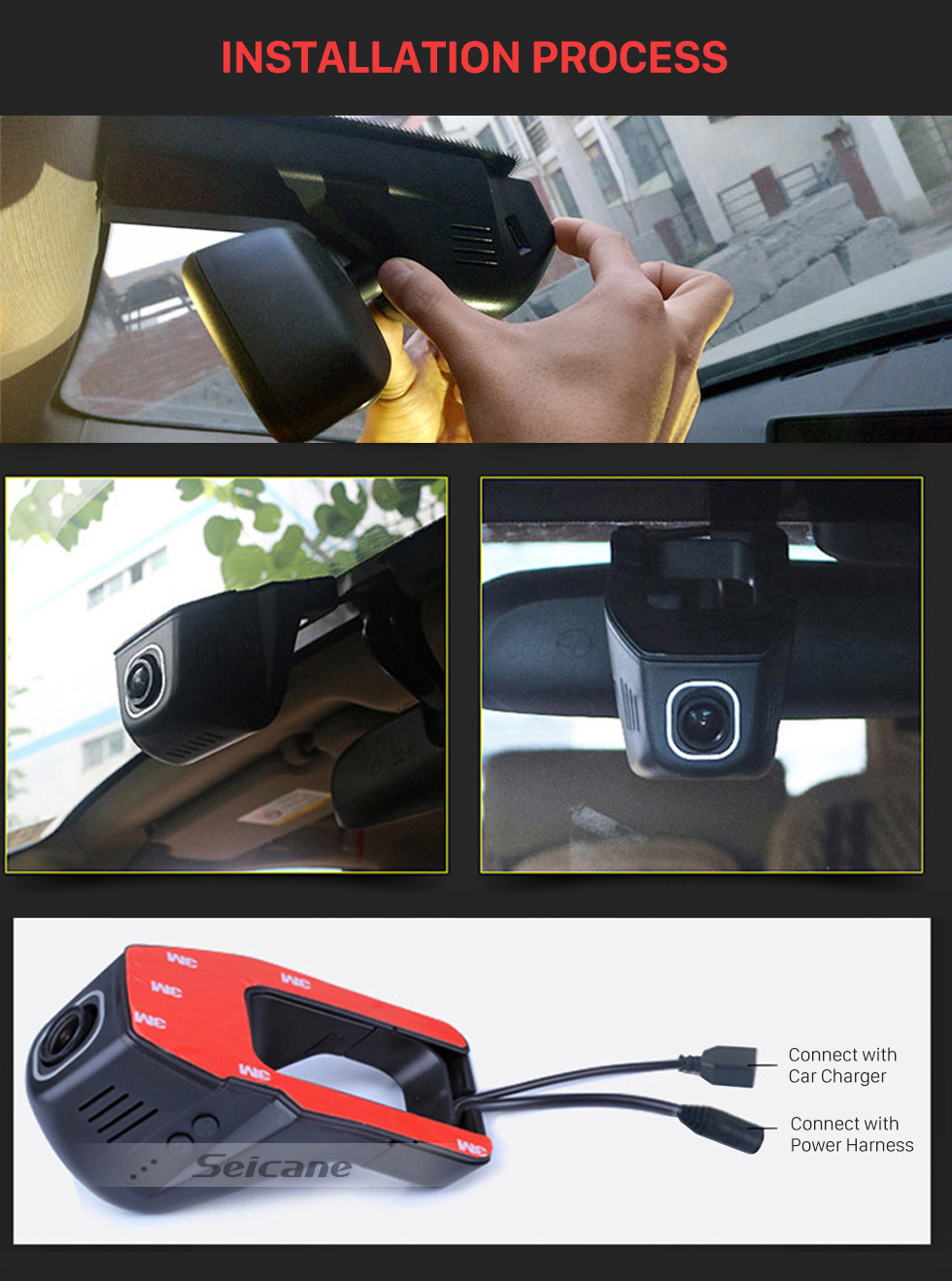 Seicane Universal Hidden HD 170 Degree Wide Angle Car Driving Video Recorder with WIFI Phone Connection Display GPS Driving Trajectory Parking Monitoring Backup Rearview Camera