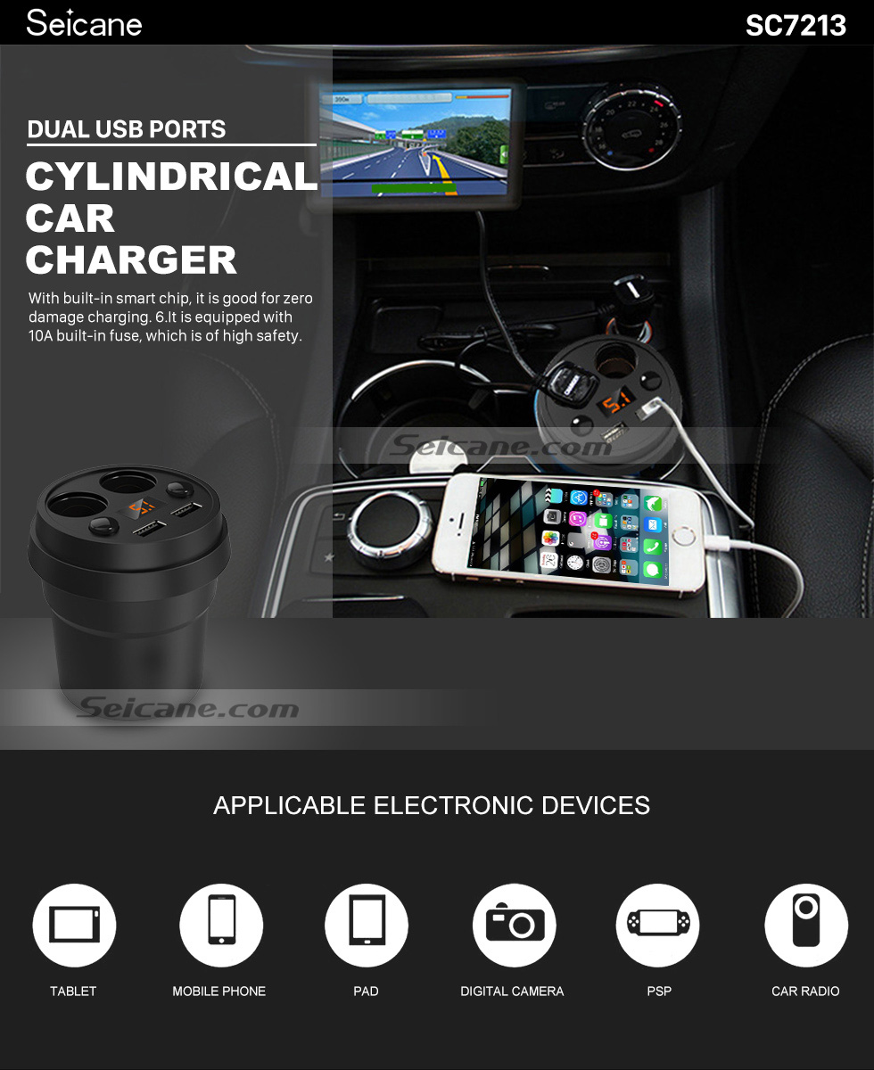 Seicane Dual USB Ports Cylindrical Car Charger with Dual Cigarette Lighter Interface High-definition Digital Display