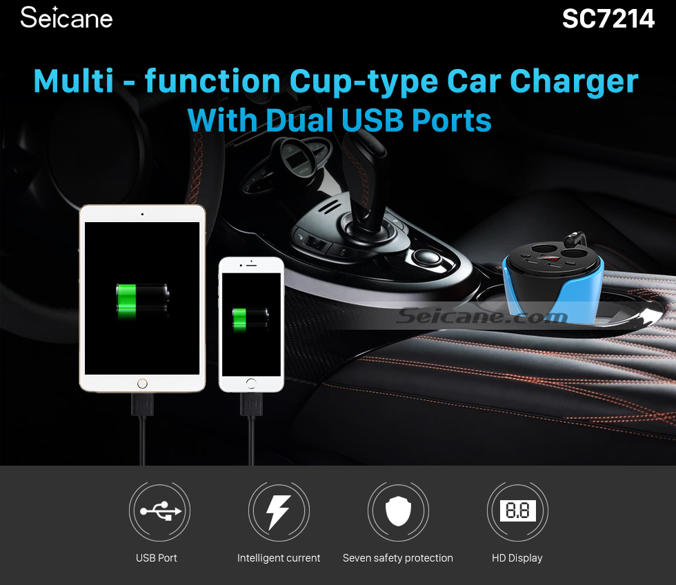 Seicane Multi-Function Dual Cigarette Lighter Cup-type Car Charger with Dual USB Ports HD Digital Display Overcharging Protection