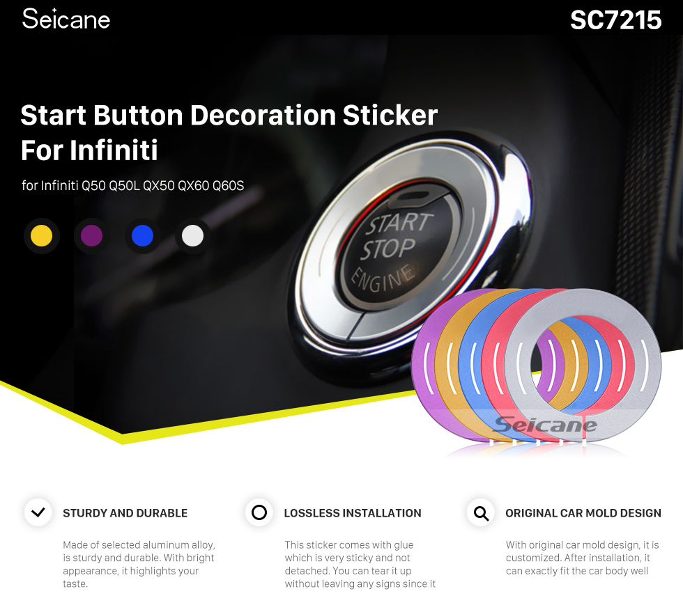 Seicane Multiple Colors Engine Start Button Decoration Sticker for Infiniti Car Styling Aluminum Alloy Ring Trim