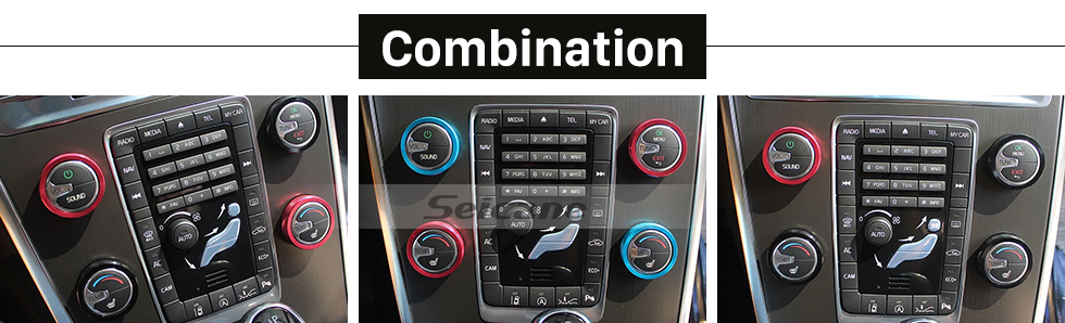 Seicane Colorful Air Conditioning Knobs Decoration Kit for 2011-2014 Volvo XC60 S60 V40 S80L Car Interior Stereo Audio Ring Cover kit