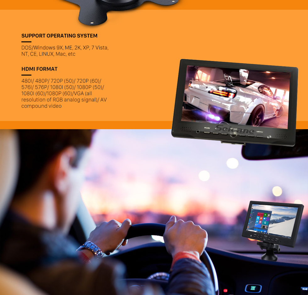 Seicane 170 Degree Super Wide Angle 7 Inch TFT LCD Display Screen HD 1080P Night Vision Car DVR With Built-in Microphone Switch Recording HDMI interface