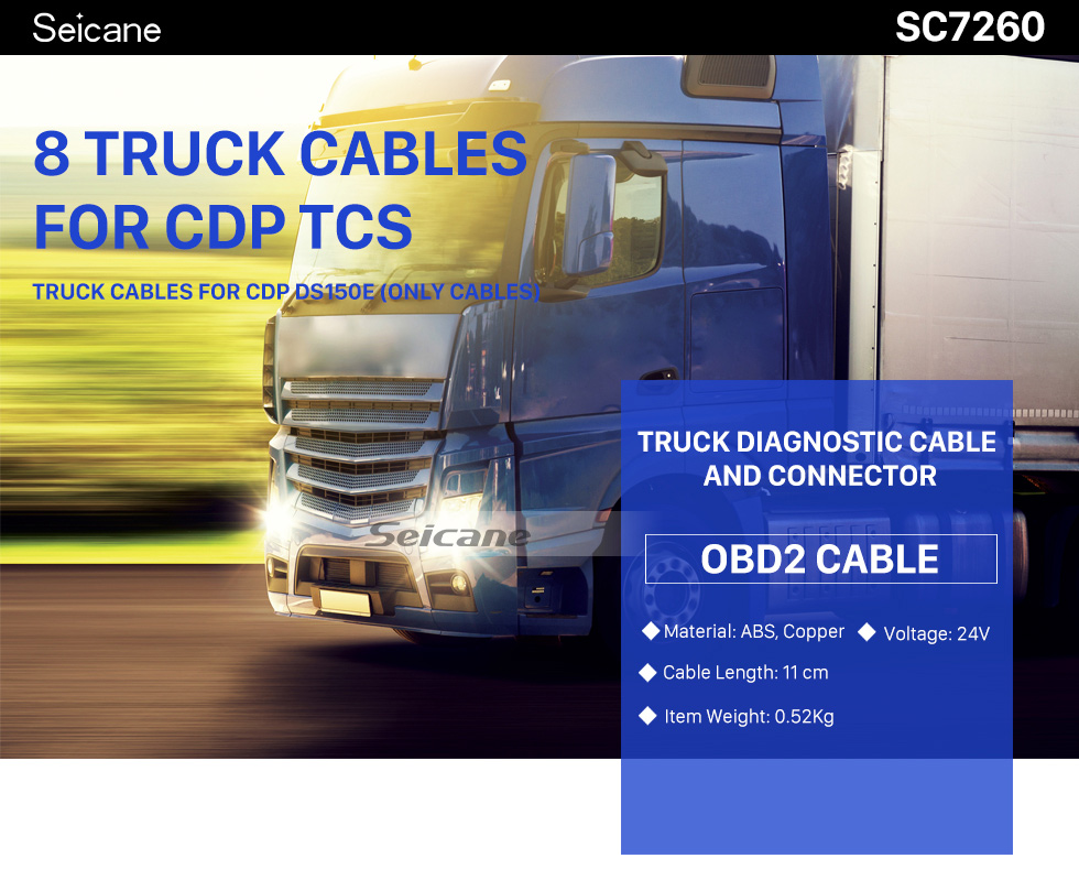 Seicane Newest 8 Pieces Truck Cables Diagnostic Cable OBD2 Connecter For CDP TCS