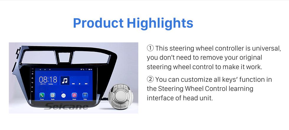 Seicane Contrôle de volant universel de haute sensibilité de contrôleur de voiture pour la radio stéréo de voiture Installation de fente de tasse de navigation GPS Plug and Play
