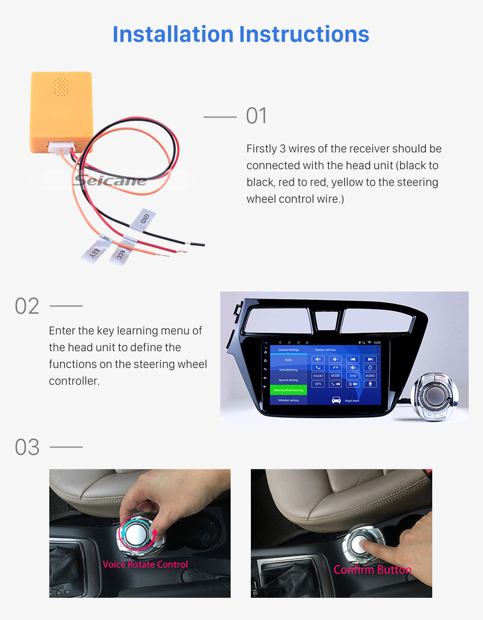 Seicane High-sensitive Universal Car Controller Steering Wheel Control For Car Stereo Radio GPS Navigation Cup Slot installation Plug and Play