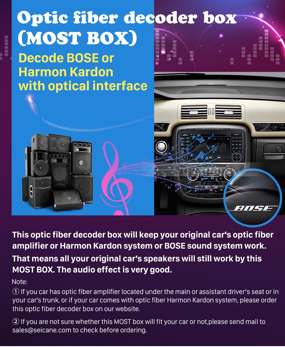 Seicane 2005-2012 Mercedes Benz Classe ML W164 ML280 ML300 ML320 ML350 ML420 ML450 ML500 ML550 ML63 Decodificador de fibra óptica do carro A maioria das caixas Bose Harmon Kardon Converter Interface óptica