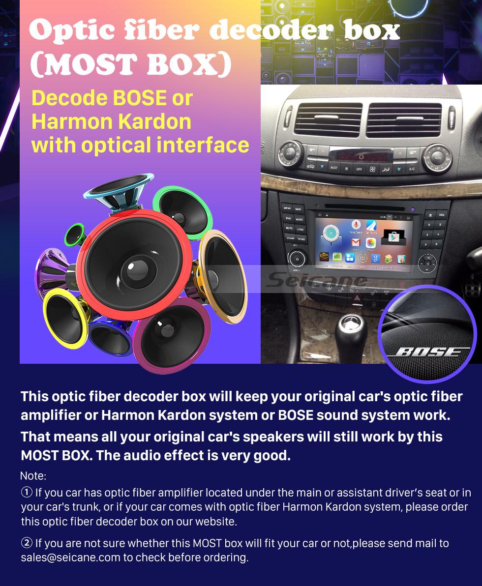 Seicane 2004-2012 Mercedes-Benz CLS-W219 CLS350 CLS500 CLS55 Car Optical Fiber Decoder Most Box Bose Harmon Kardon Audio Decoding DAC Interface Amplifier