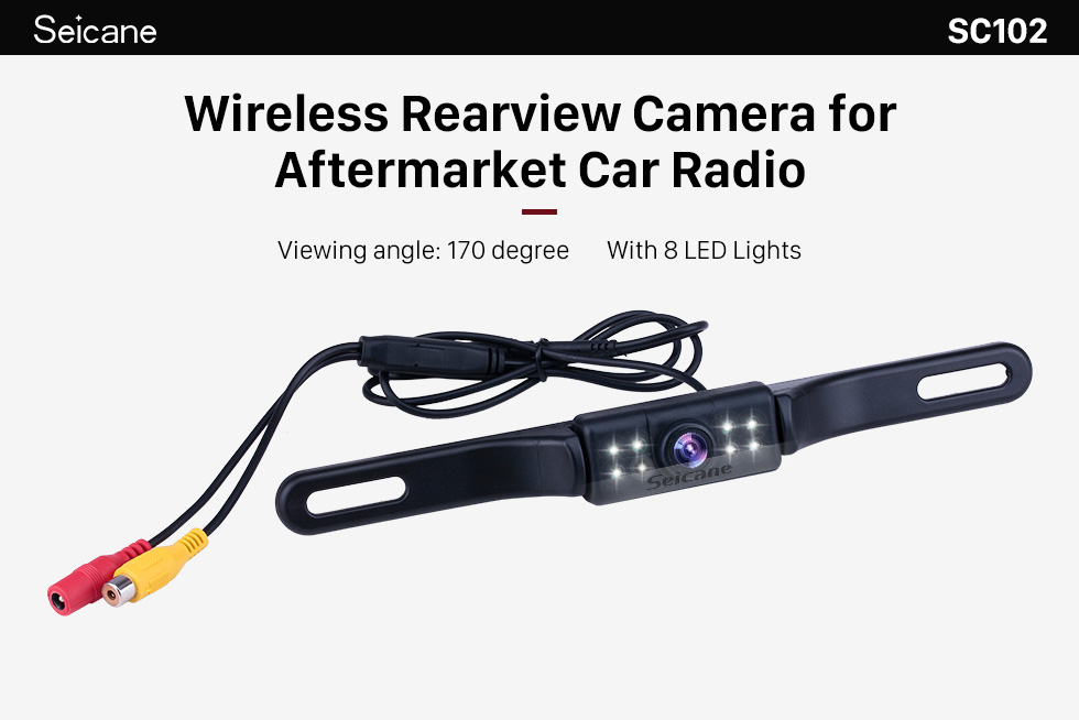 Seicane Seicane Wireless Rearview Camera for aftermarket car radio with 8 LED Lights