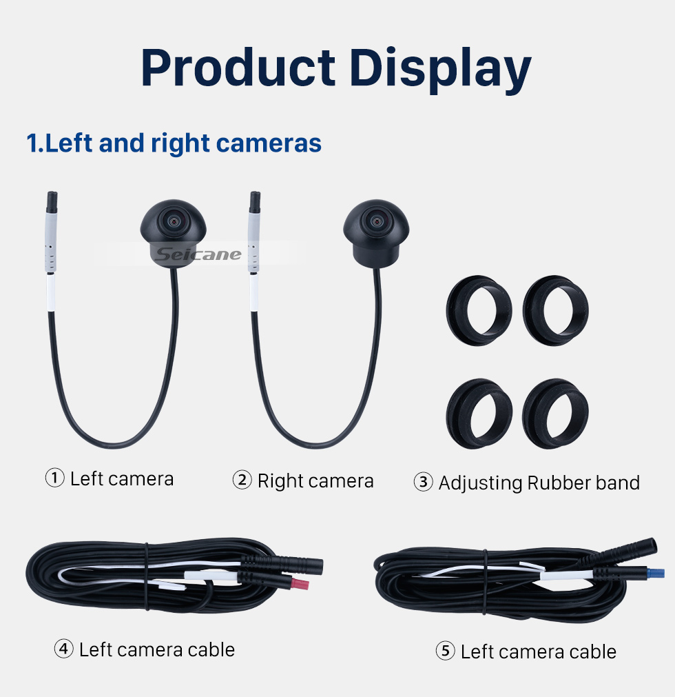 Seicane Universal 360° Surround View Car camera 360 degree Panoramic front rear left right cameras With Waterproof Night Vision