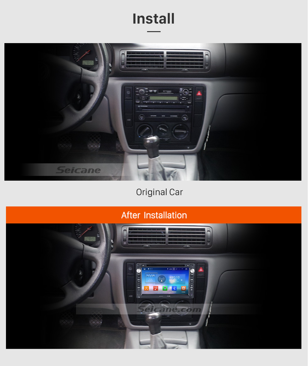 Seicane 1998-2009  VW Volkswagen T5 Pure Android 8.0 Autoradio GPS In Car DVD System with 3G WiFi Mirror Link OBD2 Bluetooth  Steering Wheel Control AUX Rearview Camera