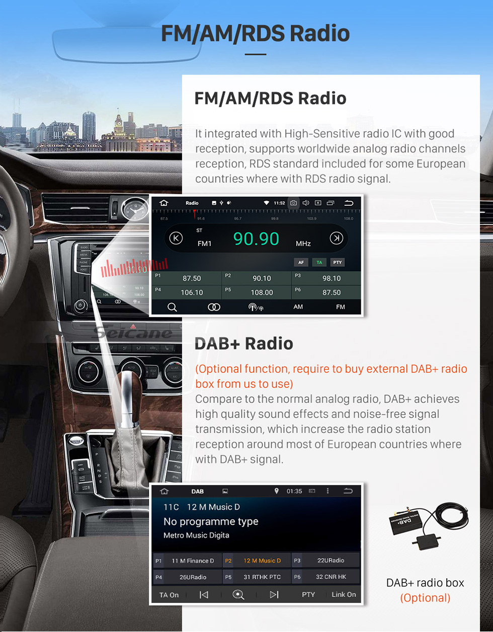 Seicane 2004-2009 VW Volkswagen CHICO Pure Android 8.0 Autoradio GPS In Car DVD System with 3G WiFi Mirror Link OBD2 Bluetooth  Steering Wheel Control AUX Rearview Camera