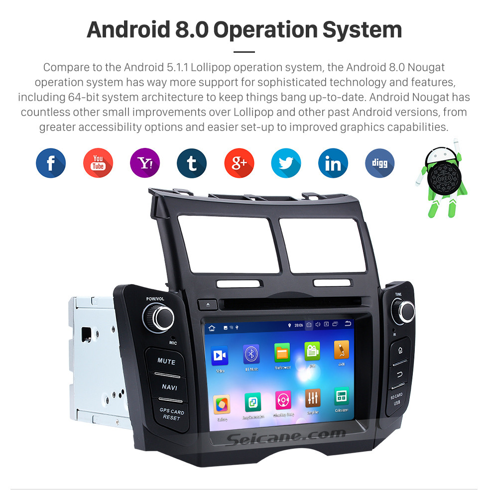 Seicane 2005-2011 Toyota YARIS OEM Autoradio Touch Screen Android 8.0 GPS navigation system with Bluetooth Mirror link OBD DVR  TV USB SD 3G WIFI Rearview camera