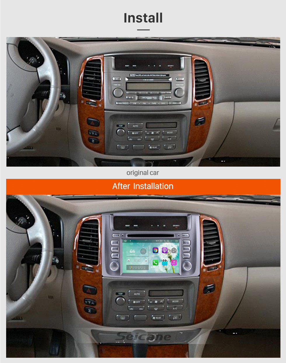 Seicane 1998-2007 Toyota  Land Cruiser Android 7.1 GPS  Radio navigation system with WIFI Bluetooth DVD player  HD touch screen OBD DVR  Backup camera TV  3G  Mirror link USB SD 16G Flash Quad-core CPU