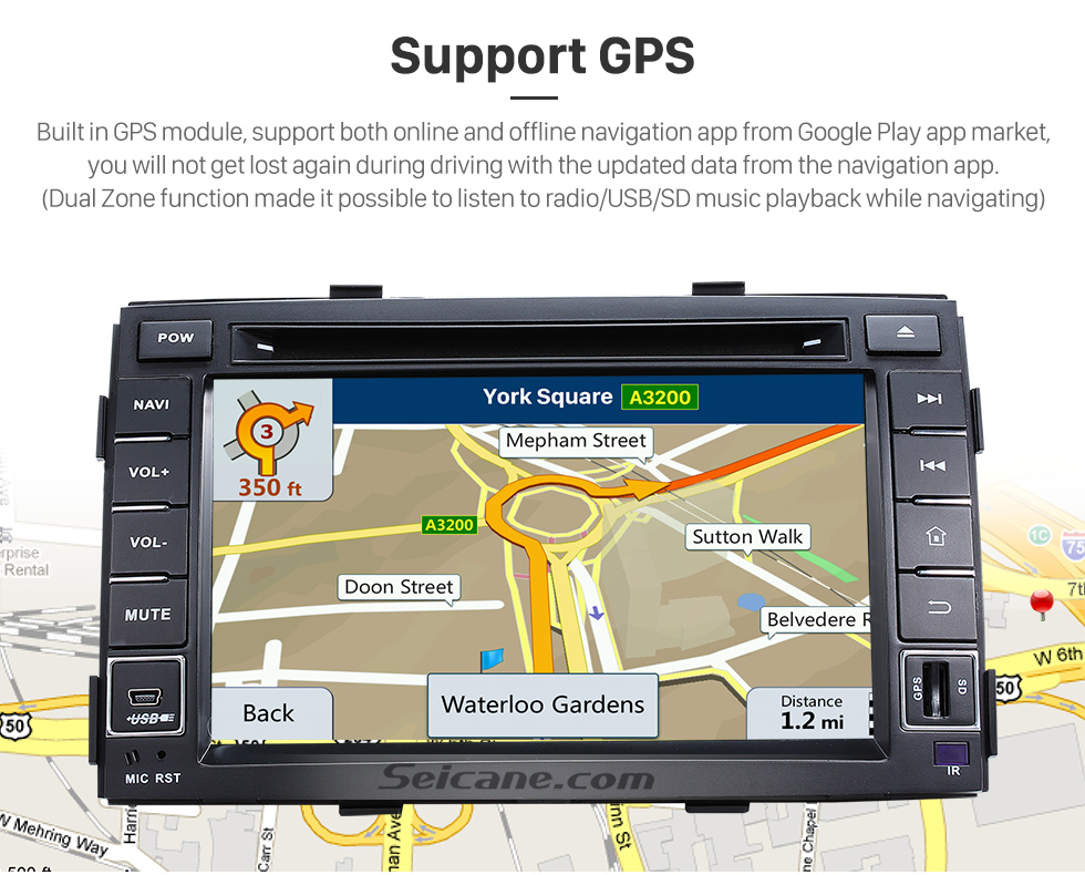 Seicane Aftermarket Android 8.1 Radio DVD Player Navigation System for 2010 2011 2012 KIA SORENTO with Bluetooth HD 1024*600 Touch Screen Mirror link GPS OBD2 DVR TV USB SD 3G WIFI  Rearview Camera 16G Flash Quad-core CPU HD 1080P Video Steering Wheel Control