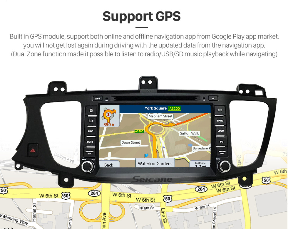 Seicane Android 5.1.1 Radio GPS DVD Player for 2009-2012 KIA Cadenza with HD 1024*600 touch screen Bluetooth navigation system OBD2 DVR Rearview camera TV 1080P Video 3G WIFI Steering Wheel Control USB SD Quad-core CPU Mirror link