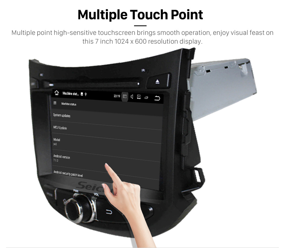 Seicane Android 5.1.1 2012 2013 Hyundai HB20 Radio DVD Player GPS navigation system  HD 1024*600 touch screen OBD2 DVR Rearview camera TV 1080P Video 3G WIFI Steering Wheel Control Bluetooth USB SD Quad-core CPU Mirror link