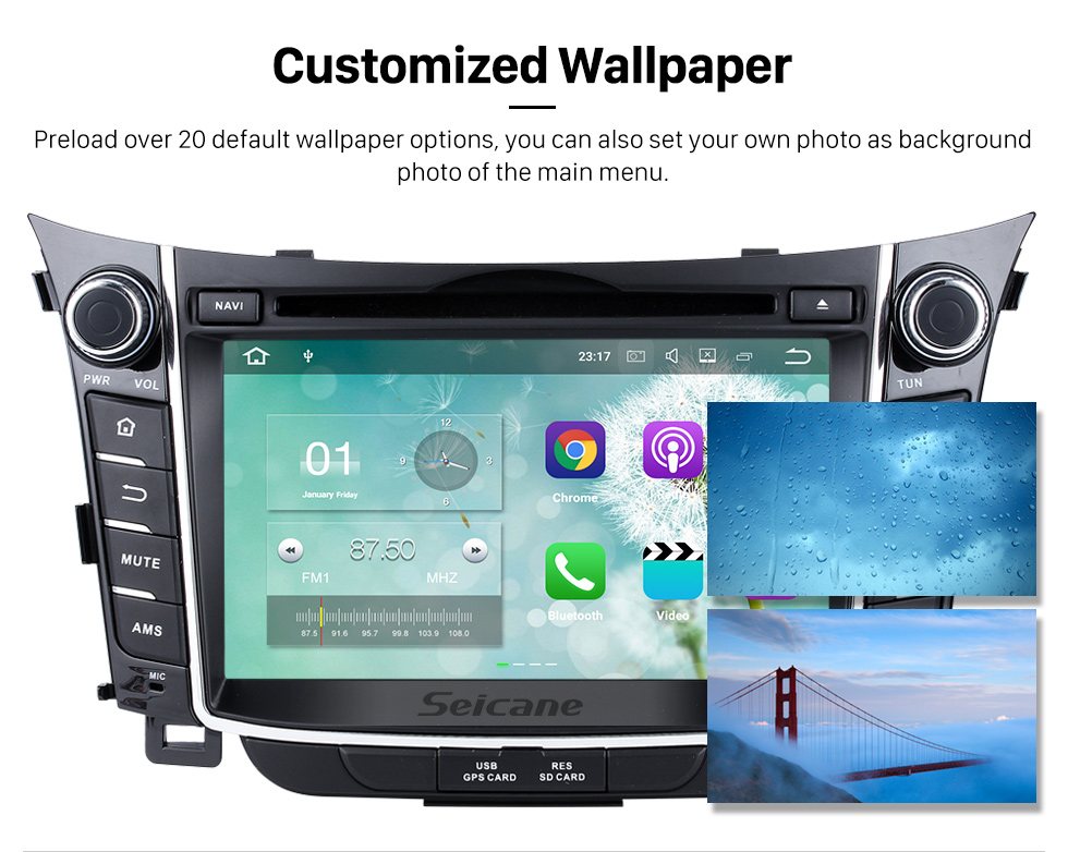 Seicane 2011 2012 2013 Hyundai I30 Android 5.1.1 Radio GPS navigation system with Bluetooth DVD Player HD 1024*600 touch screen OBD2 DVR Rearview camera TV 1080P Video 3G WIFI Steering Wheel Control USB SD  Quad-core CPU Mirror link