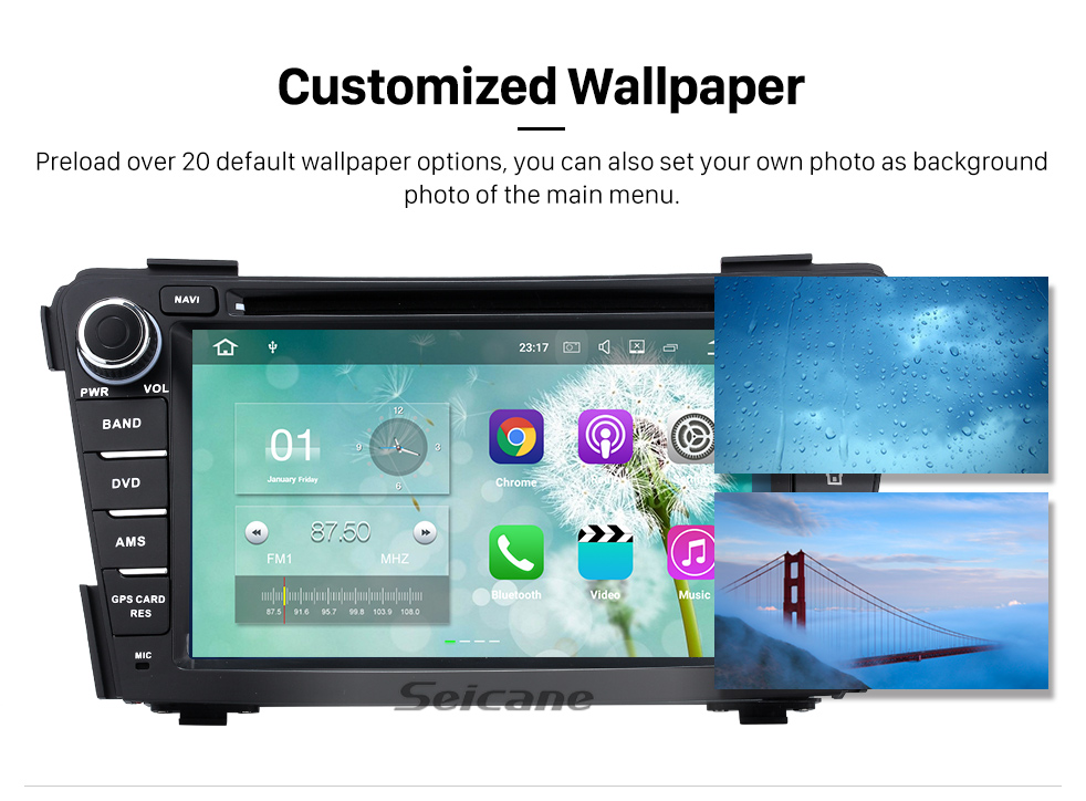 Seicane 2011 2012 2013 Hyundai I40 Android 5.1.1 Radio HD 1024*600 touch screen DVD  GPS navigation system with  Bluetooth OBD2 DVR Rearview camera TV 1080P Video 3G WIFI Steering Wheel Control USB SD Mirror link Quad-core CPU