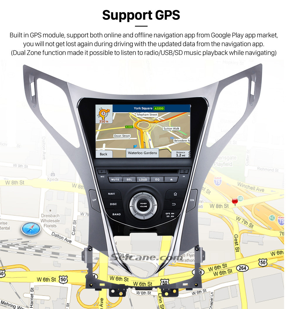 Seicane 8 inch 2011-2014 Hyundai AZERA Android 5.1 Radio GPS navigation system with DVD player HD 1024*600 touch screen OBD2 DVR Rearview camera TV 1080P Video USB SD Bluetooth 3G WIFI Mirror link Steering Wheel Control Quad-core CPU