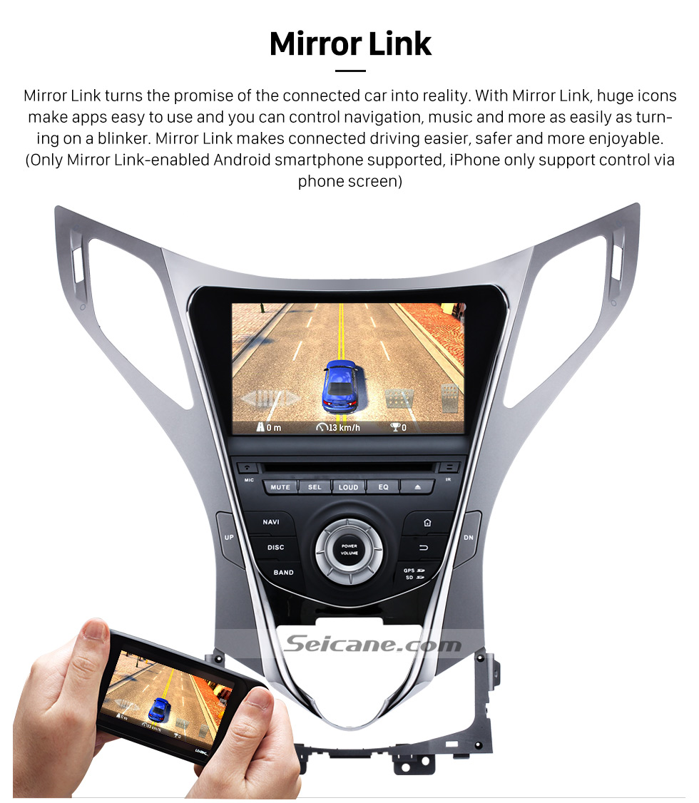Seicane 2011-2014 Hyundai I55 Android 5.1 Radio GPS navigation system DVD player with Bluetooth Mirror link HD 1024*600 touch screen OBD2 DVR Rearview camera TV 1080P Video 3G WIFI Steering Wheel Control USB SD Quad-core CPU