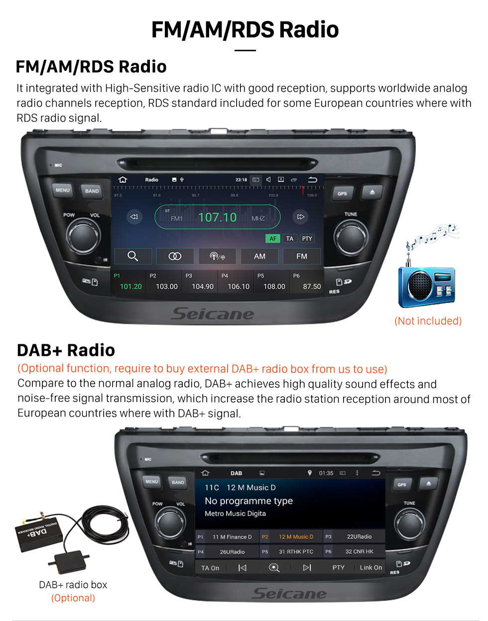 Seicane Aftermarket 2013 2014 Suzuki S Cross Android 5.1.1 Radio DVD player GPS navigation system Mirror link GPS HD 1024*600 touch screen Bluetooth OBD2 DVR Rearview camera TV 1080P Video 3G WIFI Steering Wheel Control USB SD Quad-core CPU