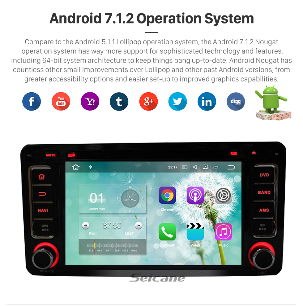 Seicane 2012-2015 Mitsubishi OUTLANDER Android 5.1.1 DVD player Radio Navigationssystem GPS Bluetooth touch screen Spiegel-Verbindung OBD2 DVR Rückfahr kamera TV 1080P Video 3G WIFI  Lenkrad-Steuerung USB SD Vier Kern CPU