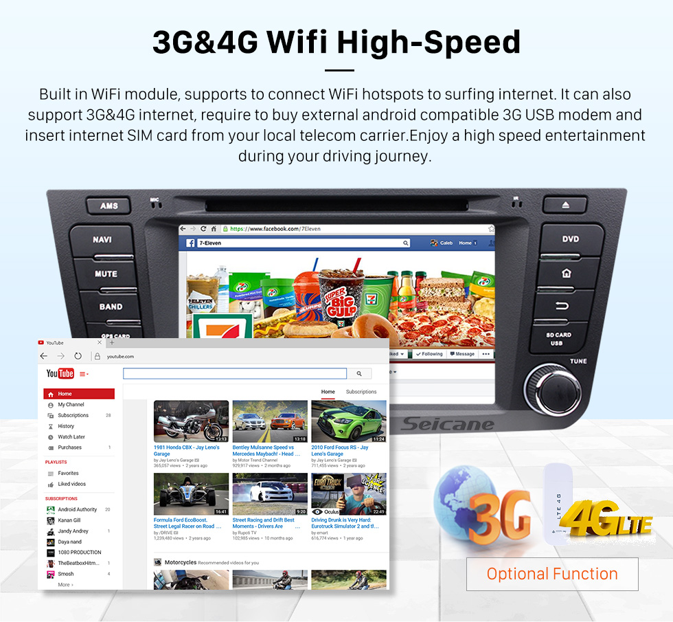 Seicane Quad-core Geely EX7 Android 5.1.1  Radio DVD player GPS navigation system HD 1024*600 touch screen Bluetooth OBD2 DVR Rearview camera TV 1080P Video 3G WIFI Steering Wheel Control USB SD Mirror link