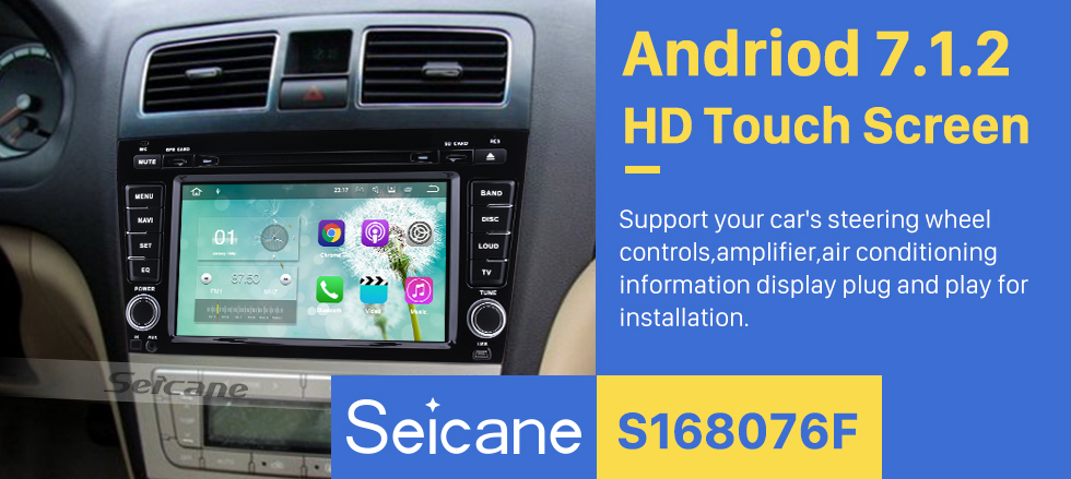 Seicane 2012 2013 2014 Geely Emgrand EC8 Android 7.1 Radio GPS DVD player navigation system HD 1024*600 touch screen  Bluetooth OBD2 DVR Rearview camera TV 1080P Video 3G WIFI Mirror link Steering Wheel Control USB SD Quad-core CPU