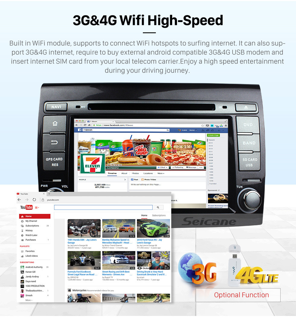 Seicane reine Android 7.1 Radio GPS Navigationssystem für 2007-2012 Fiat Bravo mit 3G WiFi DVD Bluetooth Spiegel Verknüpfung OBD2 HD 1080P Video Auto A / V AUX MP3 Rückfahrkamera