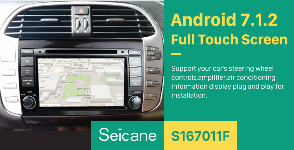 Seicane OEM DVD player Android 7.1 navigation system for 2007-2012 FIAT BRAVO with GPS Quad-core CPU Mirror link Radio HD 1024*600 touch screen OBD2 DVR Rearview camera TV 1080P Video 3G WIFI Steering Wheel Control Bluetooth USB SD