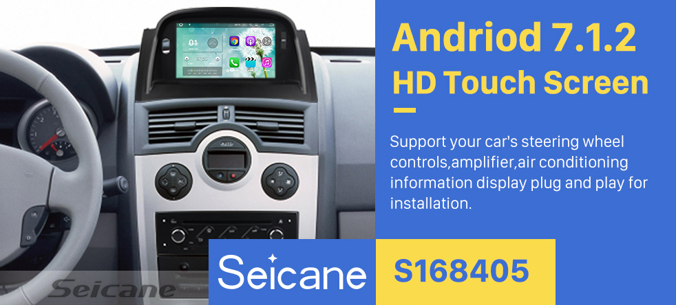 Seicane 2004-2009 Renault Megane II 8 inch car stereo Android 5.1.1 HD Touchscreen DVD GPS Navigation System Bluetooth 4G WIFI DAB+ TPMS Backup Camera Mirror Link