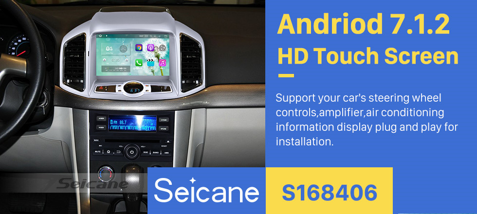 Seicane 2012-2016 Chevrolet Chevy Capativa 8 inch Touchscreen Android 7.1 Radio GPS Navigation System Bluetooth Backup Camera DAB+ TPMS Mirror Link 4G WIFI 1080P Video Steering Wheel Control