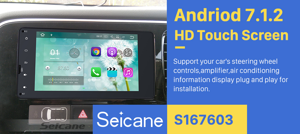 Seicane Android 5.1.1 Bluetooth Radio GPS navigation system for 2012-2015 Mitsubishi OUTLANDER with 1024*600 Touch screen Mirror link Rearview camera DVR TV 1080P Video 3G WIFI Steering Wheel Control USB SD OBD2 DAB+