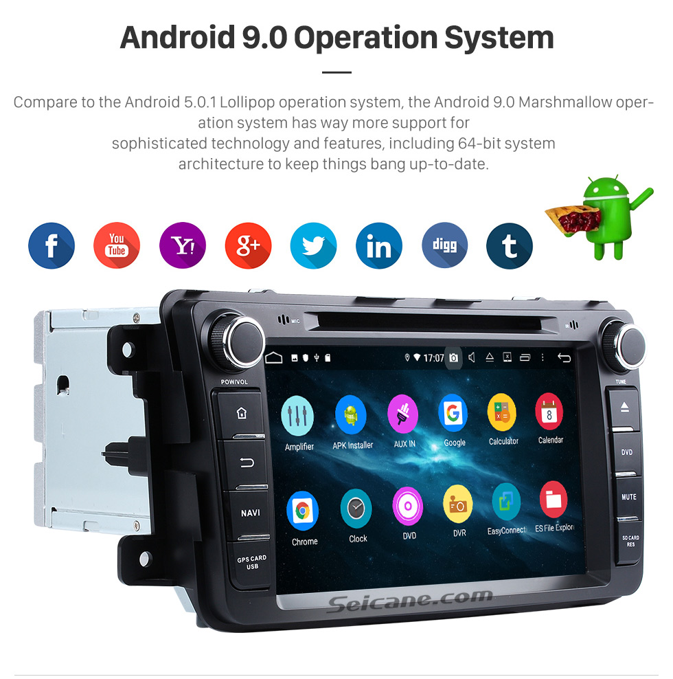 Seicane 2007-2015 Mazda CX-9 Radio DVD player Android 9.0 GPS navigation system with Bluetooth  HD touch screen Mirror link OBD DVR USB SD WIFI Rearview camera