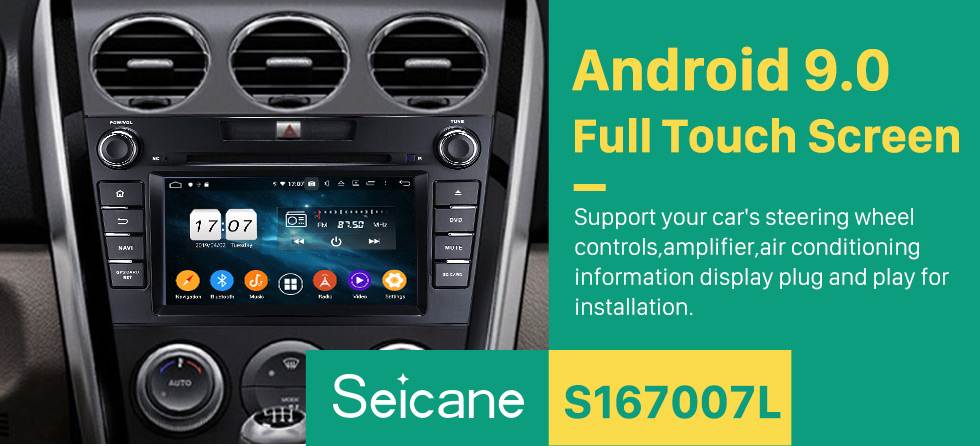Seicane Android 9.0 HD 1024*600 Touch Screen GPS Navigation System Radio for 2007-2014 Mazda CX-7 with DVD Player Bluetooth Mirror link DVR TV Video WIFI Backup Camera USB SD Steering Wheel control OBD2