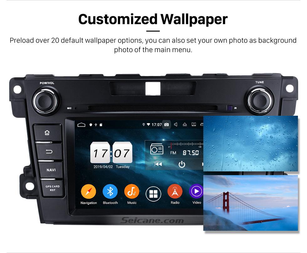 Seicane Android 9.0 HD 1024 * 600 Pantalla táctil Sistema de navegación GPS Radio para 2007-2014 Mazda CX-7 con reproductor de DVD Bluetooth Enlace espejo DVR TV Video WIFI Cámara de respaldo USB SD Control del volante OBD2
