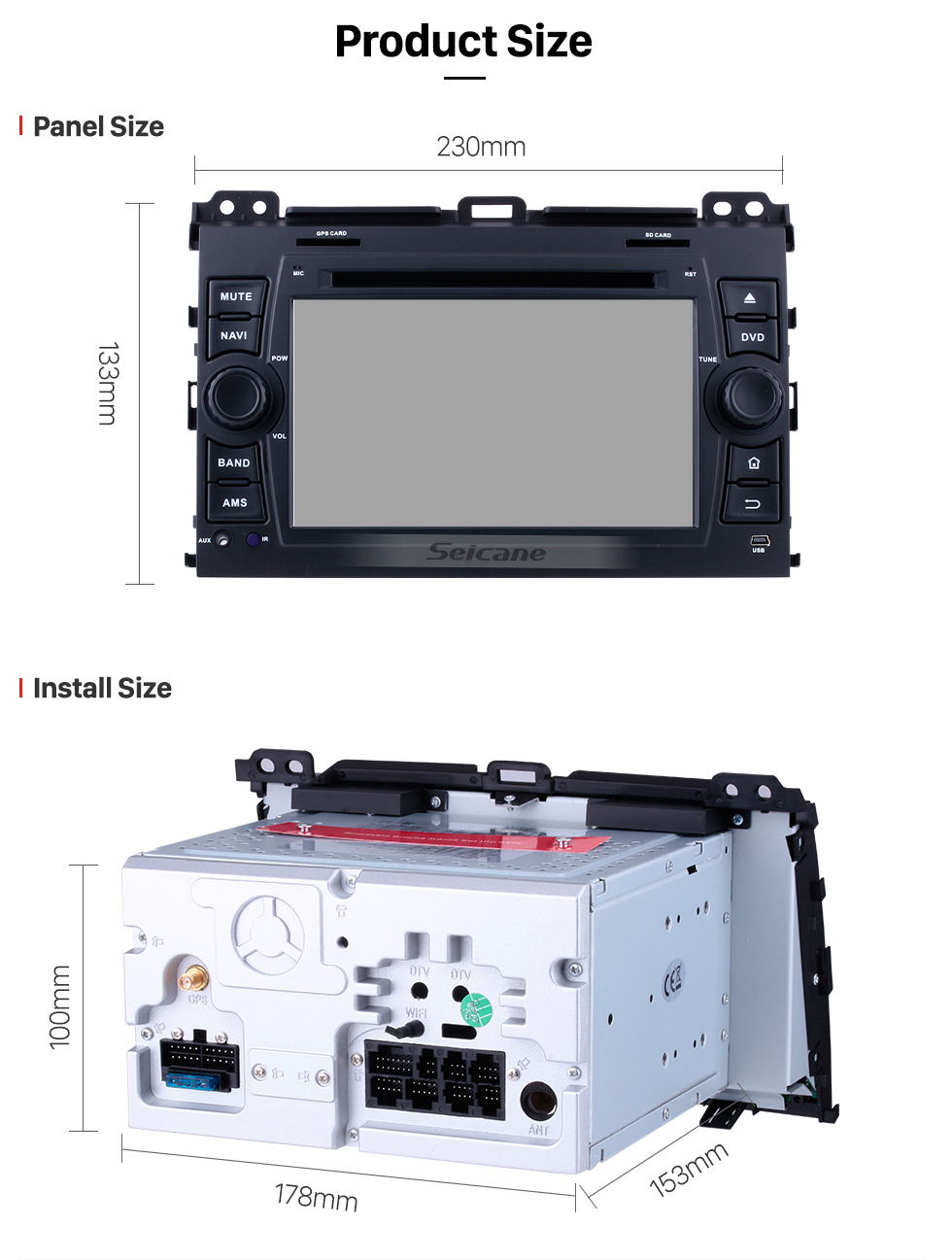 Seicane OEM Android 8.0 Sat Nav System for 2002-2009 Toyota Prado Cruiser with 1024*600 Multi-touch Capacitive Screen DVD Player AM FM Radio 3G WiFi Bluetooth Music Mirror Link OBD2 AUX Steering Wheel Control
