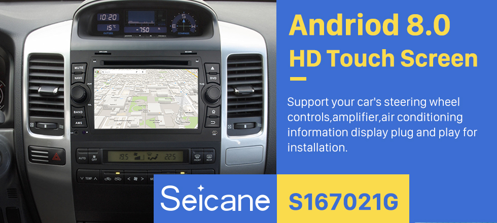 Seicane Android 8.0 1024*600 2002-2009 Lexus GX470 Radio DVD Player GPS Navigation System with Bluetooth Music 3G WiFi Mirror Link OBD2 Rearview Camera HD Multi-touch Screen 1080P USB SD