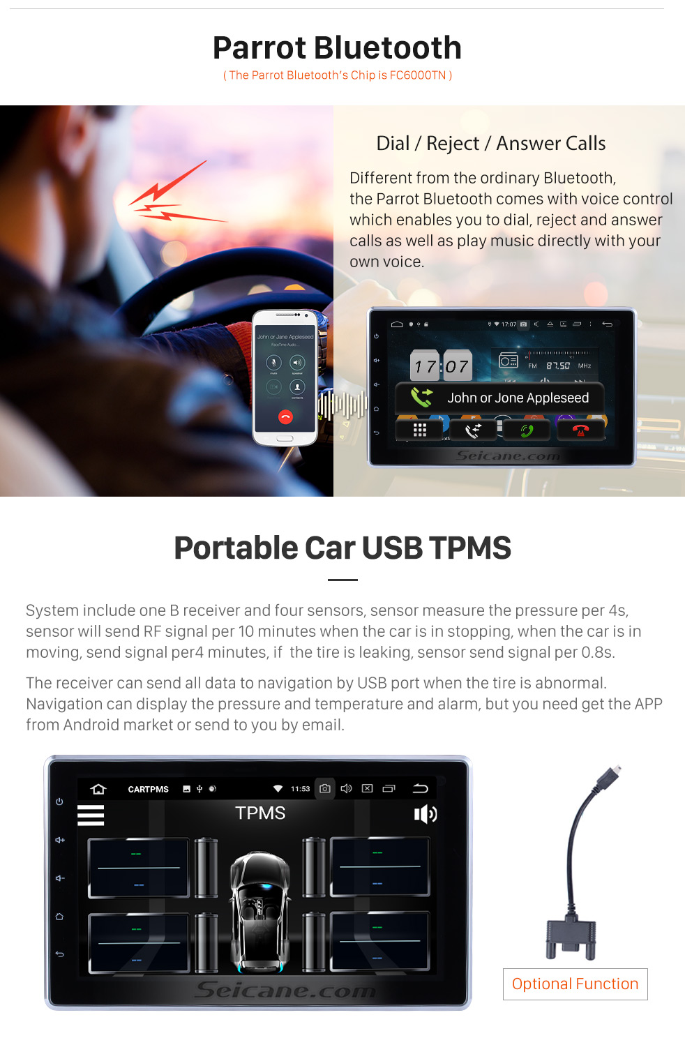 Seicane 10.1 inch 2 DIN Universal 1024*600 Touchscreen Android 9.0 radio GPS Navigation System with WIFI 3G Bluetooth Music USB OBD2 AUX Radio Backup Camera Steering Wheel Control