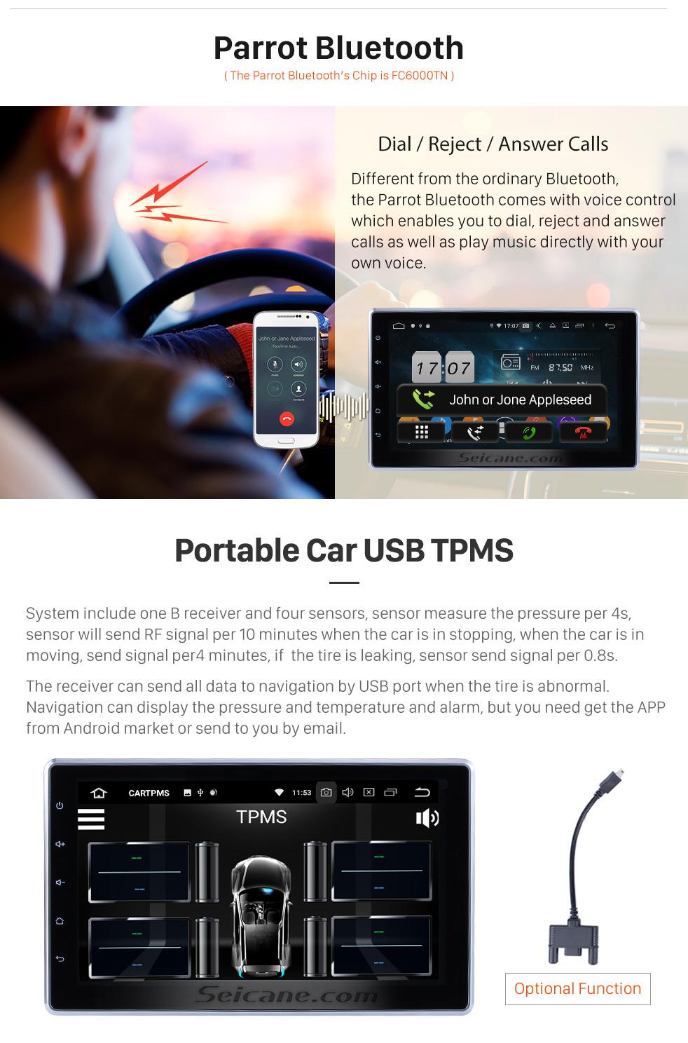 Seicane 10,1 Zoll HD Touchscreen 2 DIN Android 9.0 Universal Radio DVD-Player GPS Navigationssystem Bluetooth Telefon Musik WIFI Unterstützung Digital TV DVR USB Lenkradsteuerung Rückfahrkamera
