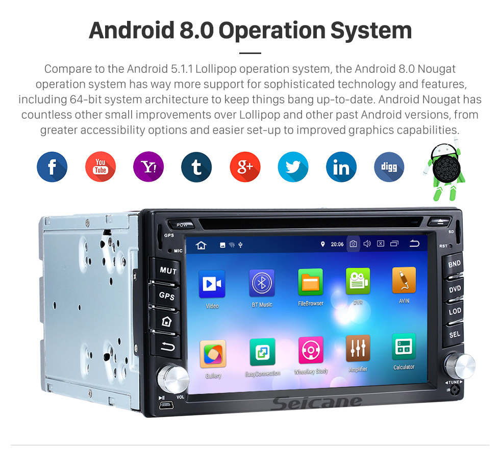 Seicane 2004-2010 Nissan VERSA Android 8.0 DVD Player GPS navigation system Bluetooth Radio HD Touch Screen Mirror link OBD2 DVR TV 4G WIFI USB SD Rearview Camera 1080P Video