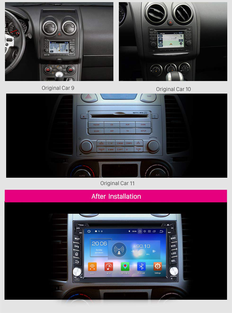 Seicane 2009 2010 2011 Nissan NV200 Android 8.0 DVD Player Radio GPS Navigation System Mirror link Touch Screen OBD2 DVR TV 3G WIFI Bluetooth USB SD Rearview Camera 1080P Video Steering Wheel Control