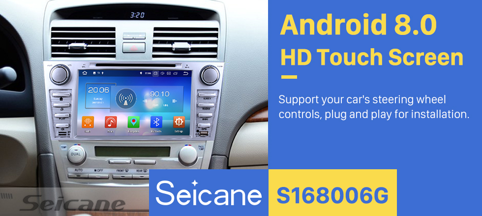 Seicane 8 inch 2007-2011 Toyota CAMRY Android 8.0 Radio  Bluetooth GPS DVD player navigation system  HD 1024*600 touch screen OBD2 DVR Rearview camera TV 1080P Video USB SD 3G WIFI Steering Wheel Control Mirror link