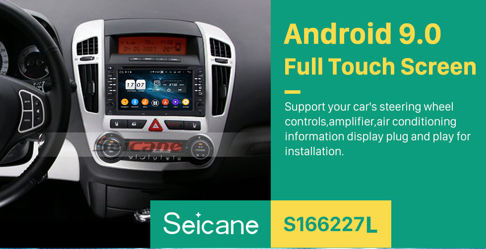 Seicane Android 9.0 DVD Player Radio Car Stereo for 2005 2006 2007 2008 2009 Kia Cerato GPS Navigation system Support Bluetooth Aux USB SD WIFI DVR OBD2 Rearview Camera Mirror Link