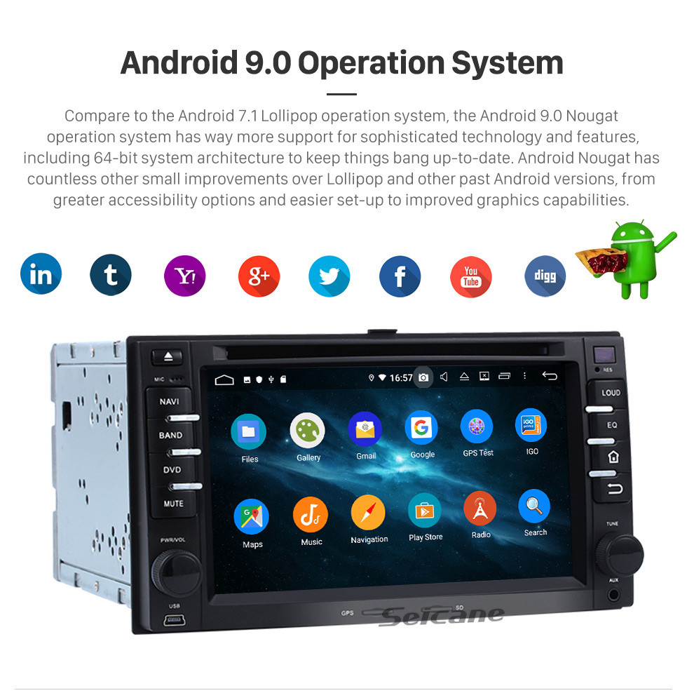 Seicane Aftermarket Android 9.0 Radio GPS  Navigation System for 2004-2010 KIA Sportage with  DVD Player Touchscreen OBD2 DVR Rearview camera TV 1080P Video 3G WIFI Bluetooth USB SD Steering Wheel Control Mirror link