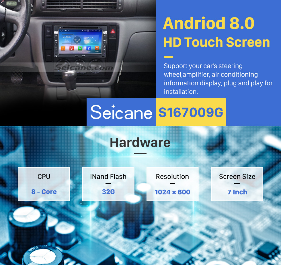 Seicane 1998-2005 VW Volkswagen Jetta Android 8.0 Autoradio MP3 In Dash GPS Stereo with Bluetooth Mirror Link OBD2 DVD 3G WiFi HD 1024*600 Multi-touch Capacitive Screen Auto A/V AUX