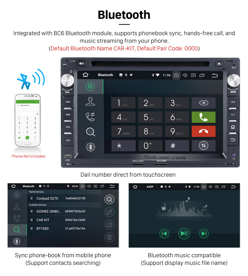 Seicane 2004-2009 VW Volkswagen GOLF Pure Android 8.0 Autoradio GPS In Car DVD System with 3G WiFi Mirror Link OBD2 Bluetooth  Steering Wheel Control AUX Rearview Camera