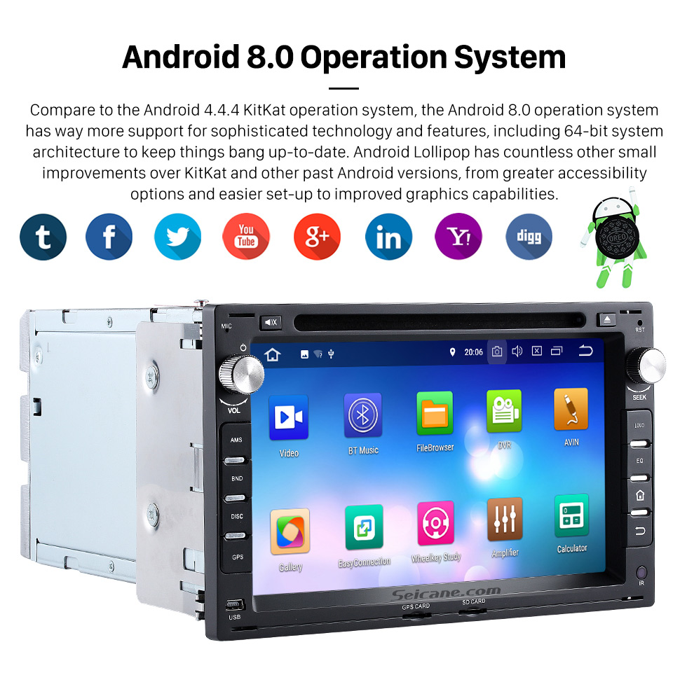 Seicane Android 8.0 GPS navigation system for 1999-2005 VW Volkswagen Jetta with Bluetooth DVD player Radio HD 1024*600 touch screen OBD2 DVR Rearview camera TV 1080P Video 3G WIFI  Steering Wheel Control USB Mirror link