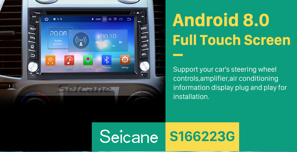 Seicane Android 8.0 GPS Radio DVD player for 2000-2006 Hyundai SANTA FE with Bluetooth touch screen navigation system  OBD2 DVR Rearview camera TV 1080P Video 3G WIFI Steering Wheel Control USB Mirror link