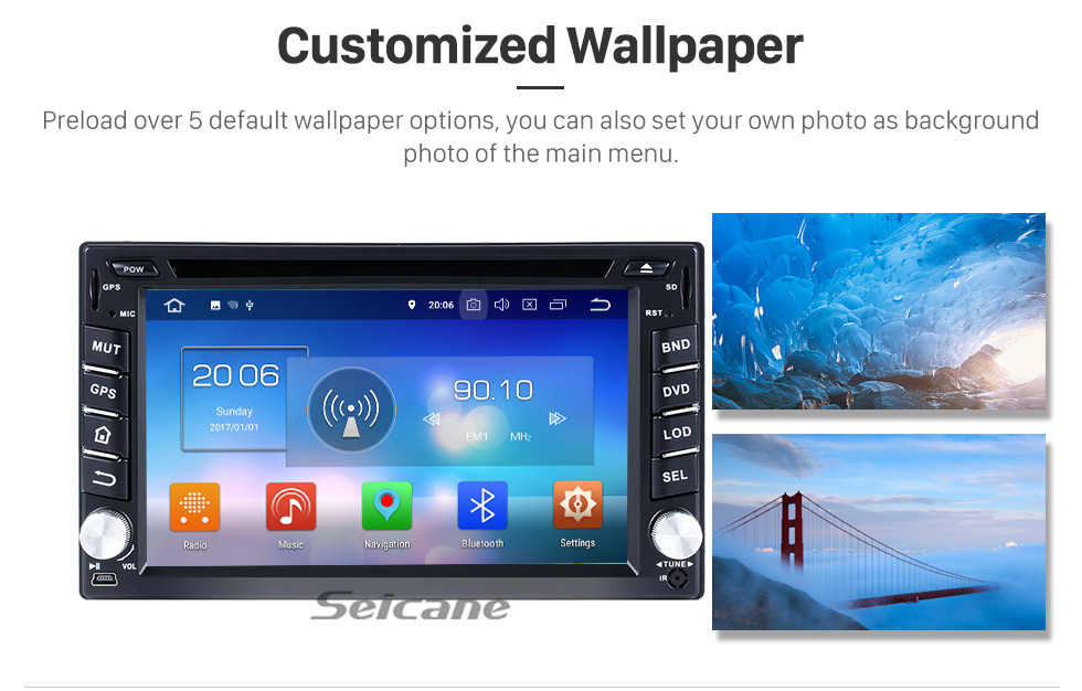 Seicane 2004-2009 Hyundai TUCSON Android 8.0 Radio GPS DVD player touch screen  navigation system OBD2 DVR TV 1080P Video 3G WIFI Steering Wheel Control USB SD Bluetooth backup camera Mirror link